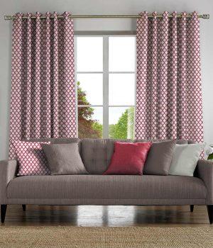 crisscross bubblegum curtains