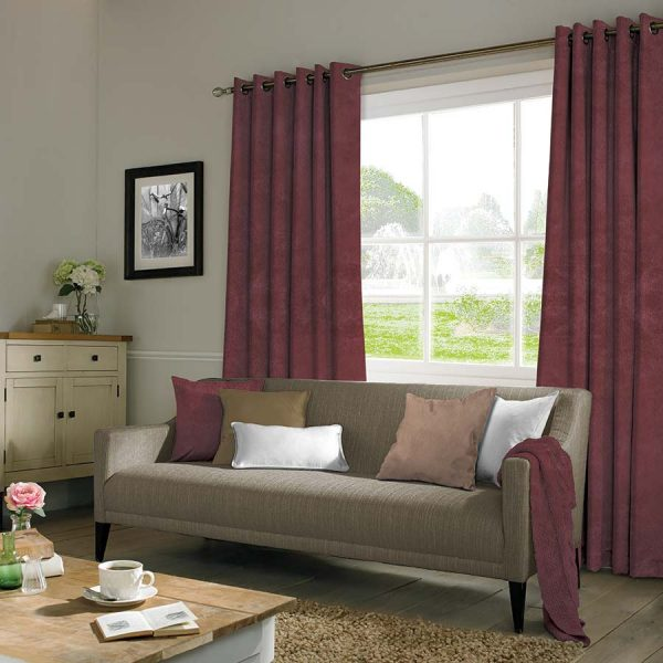 Suede Red Curtains