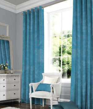 Suede blue curtains