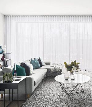 Dapple Pearl Sheer curtains