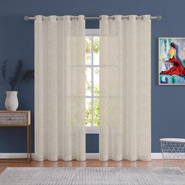 Linen Oatmeal Sheer Curtains Dubai