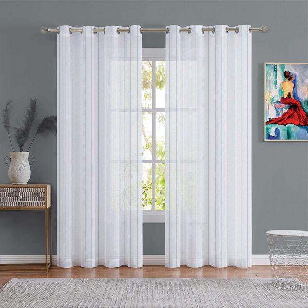 Stripe Blue Sheer Curtain